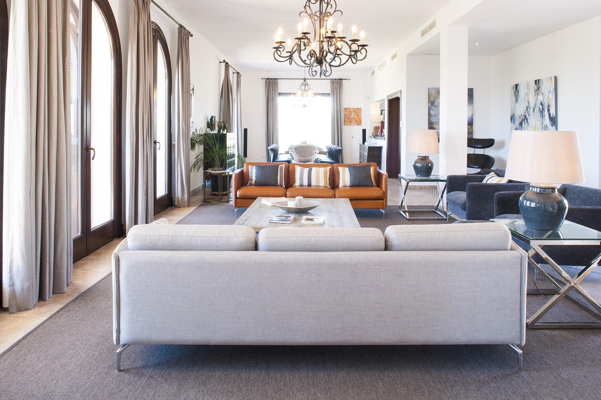 open plan living room luxury villa