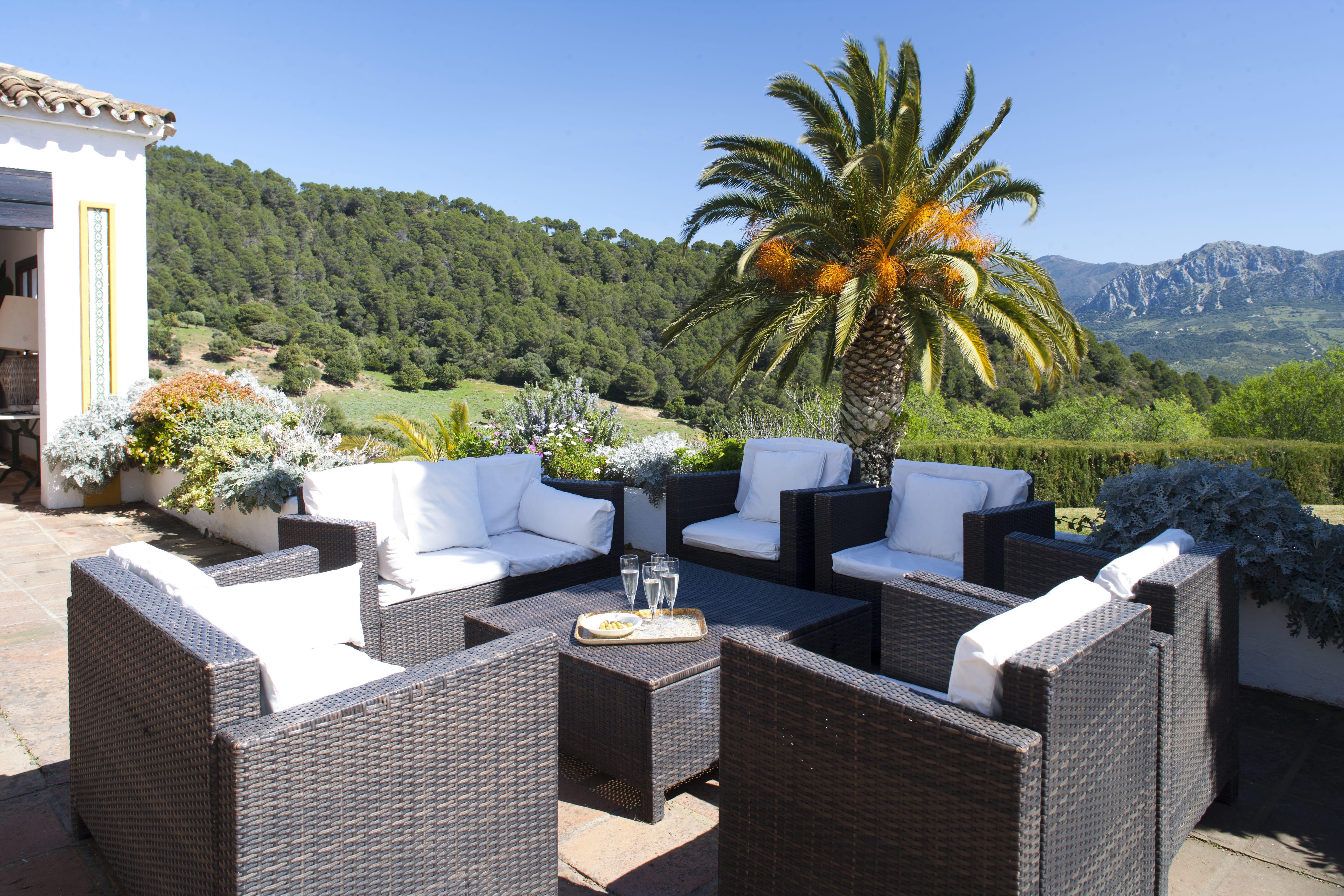 out door seating at holiday villa