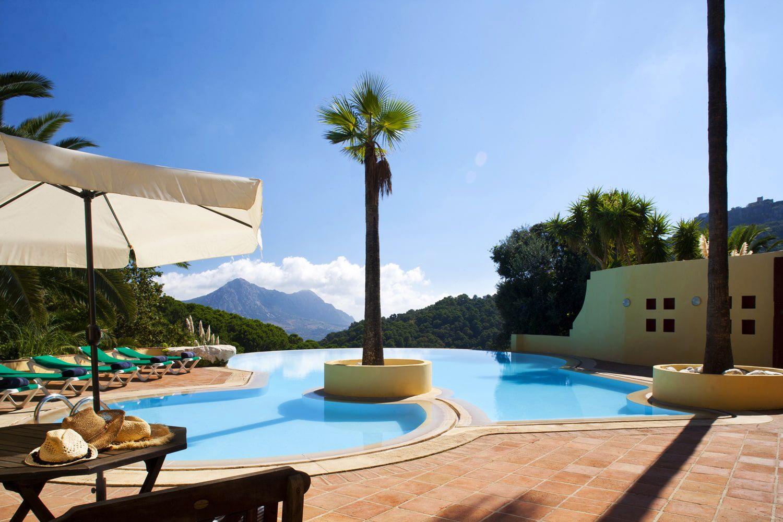 swimming pool with views towards mediterranean