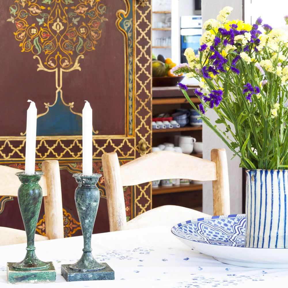 dining table with flowers