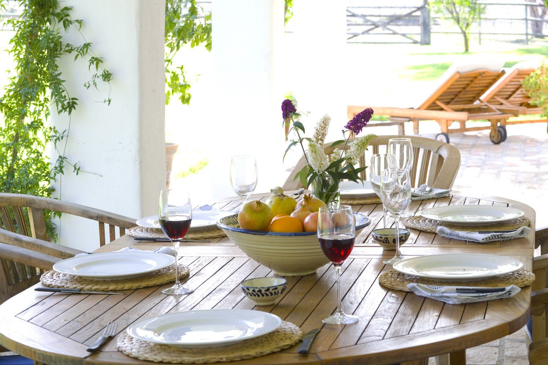 outdoor dining table at luxury villa