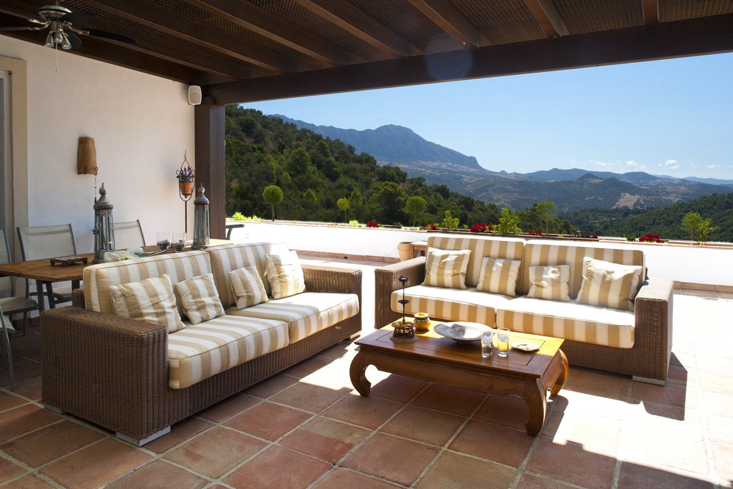 sofas on outdoor terrace
