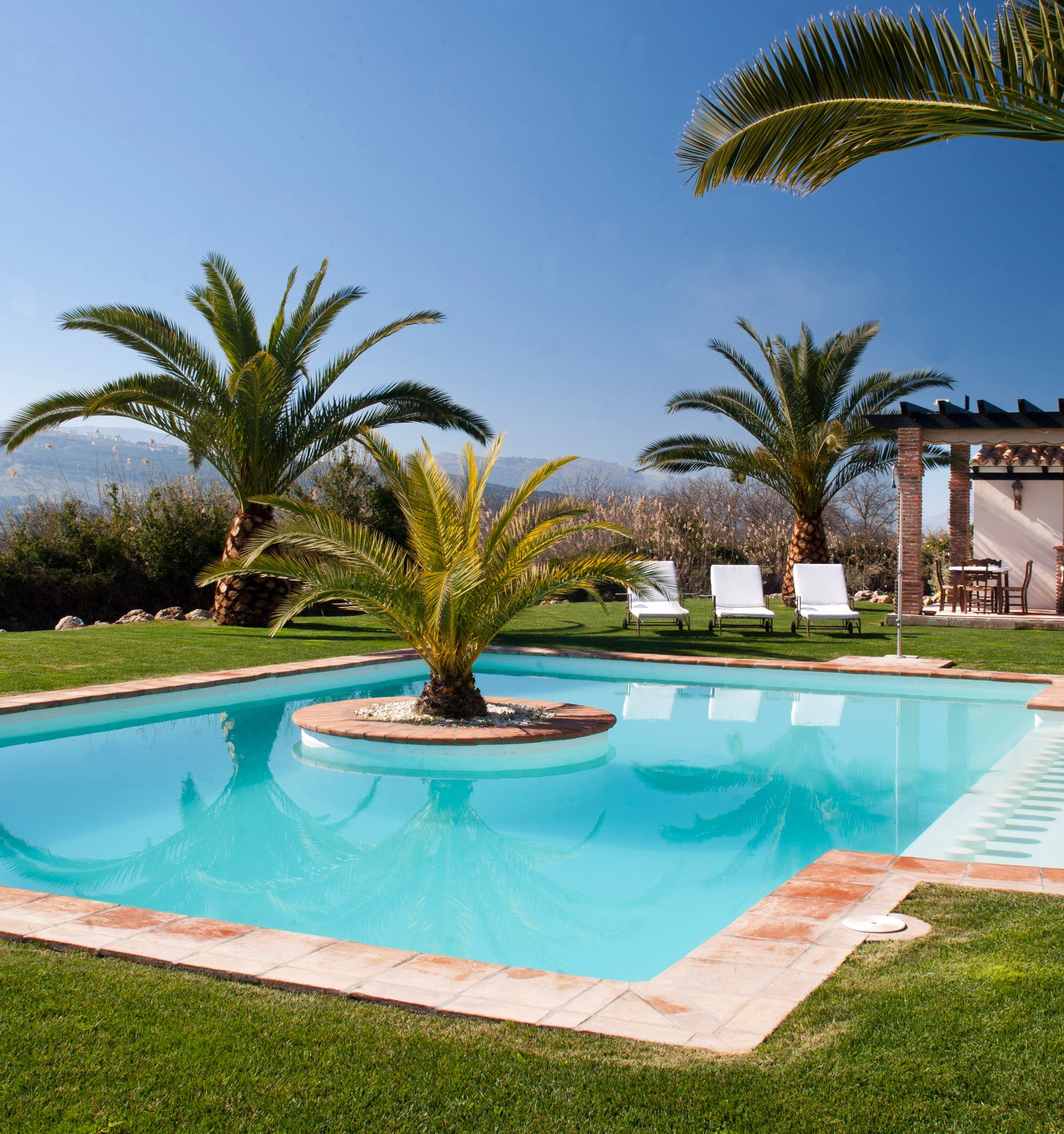 huge luxury pool with garden ronda