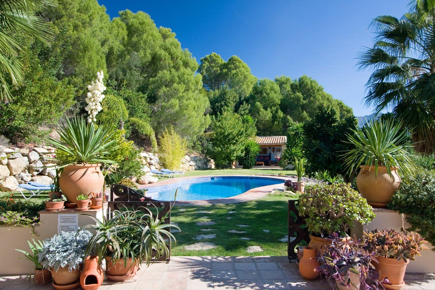garden and gated pool